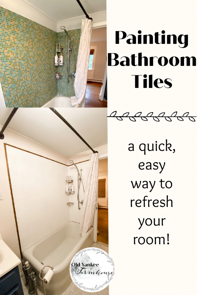 Painting bathroom tiles is a quick and easy way to refresh your room!