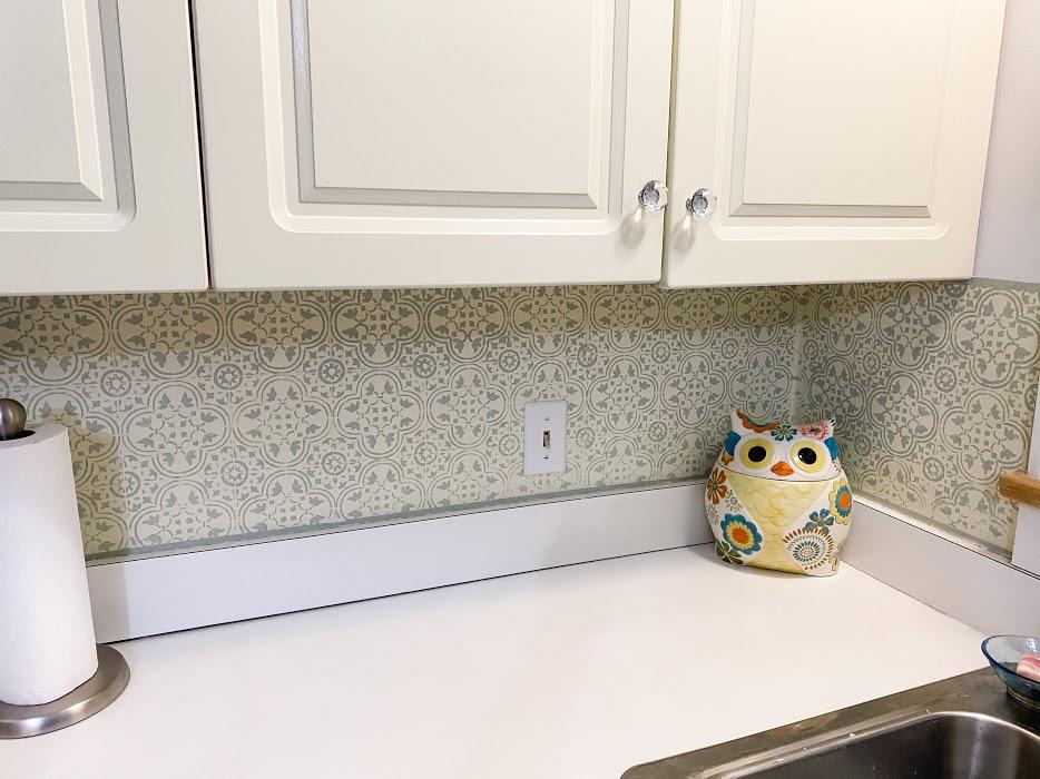 DIY Stencil Kitchen Backsplash