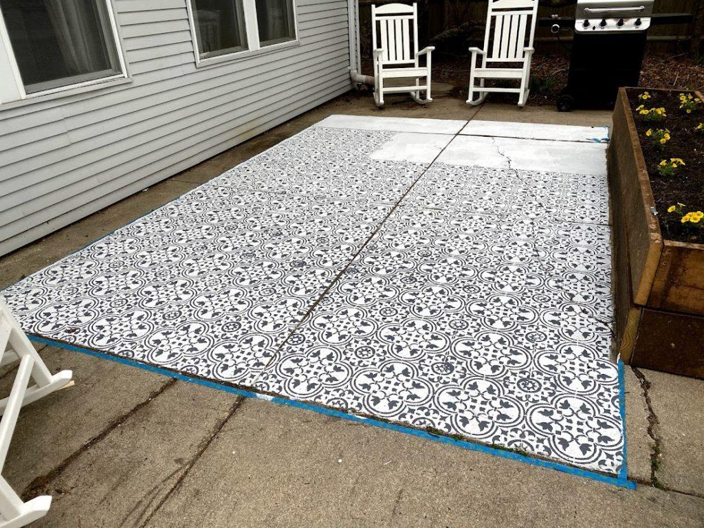 how to stencil a concrete patio